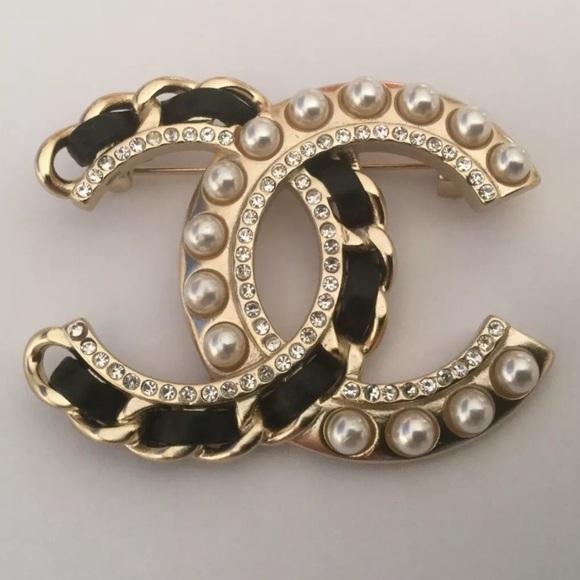 97e49fcdb CHANEL Jewelry | Pearl Crystal Cc Brooch Black Leather Xl | Poshmark